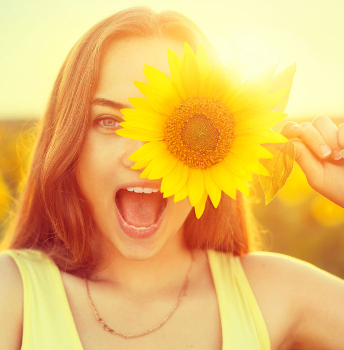 girl with sunflower, happy